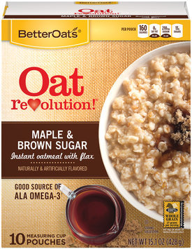 BetterOats® Oat Revolution!® Maple & Brown Sugar Instant Oatmeal 10 ct Pouches