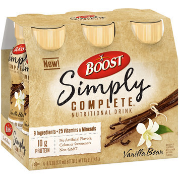 Boost® Simply Complete™ Vanilla Bean Nutritional Drink 6-8 fl. oz. Plastic Bottles