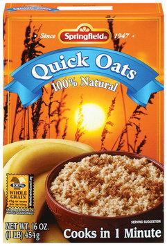 Springfield Quick Oats 100% Natural Oatmeal 1 Lb Box