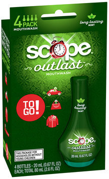 Scope Outlast Mouthwash To Go Long Lasting Mint Flavor Mouthwash 4 ct Pack