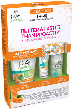 Olay Fresh Effects Clear Skin 1-2-3 Acne Solution System with Wet Cloths
