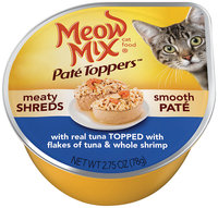 Meow Mix® Pate Toppers™ with Real Tuna Topped with Flakes of Tuna & Whole Shrimp Wet Cat Food 2.75 oz. Cup
