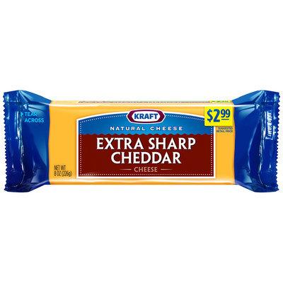 Kraft Natural Cheese Extra Sharp Cheddar Cheese 8 oz. Chunk