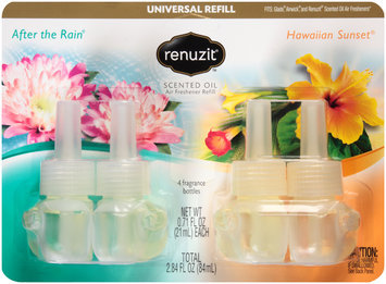 Renuzit® After the Rain®/Hawaiian Sunset® Scented Oil Air Freshener Refill 4 ct Carded Pack