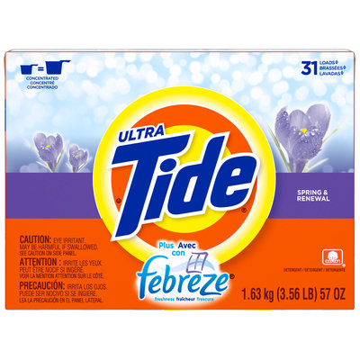 Tide Ultra Plus Febreze Freshness Spring & Renewal Scent Powder Laundry Detergent 57 oz. Box