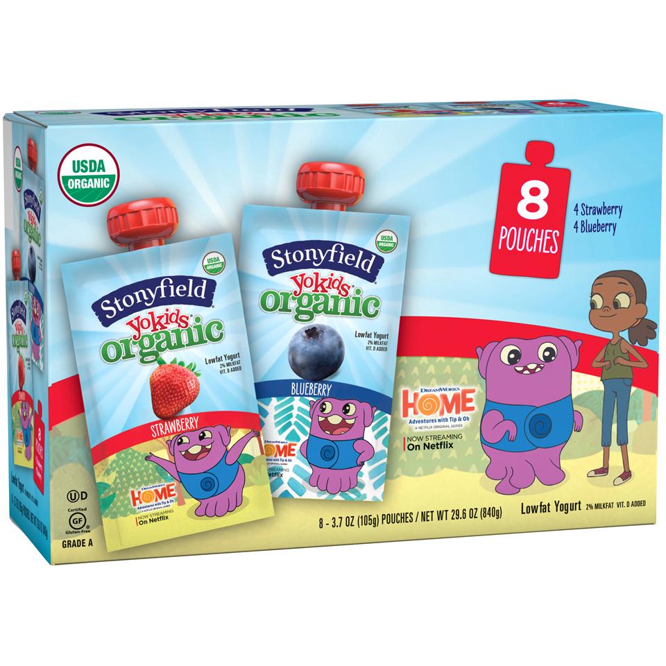 Stonyfield Yokids® Strawberry & Blueberry Organic Lowfat Yogurt 8-3.7 oz. Pouches