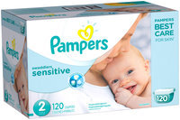 Premium Pampers Swaddlers Sensitive Diapers Size 2 120 count