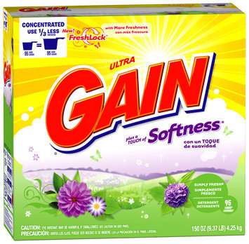 Gain with FreshLock plus a Touch of Softness Simply Fresh Powder Detergent 150 oz. Carton