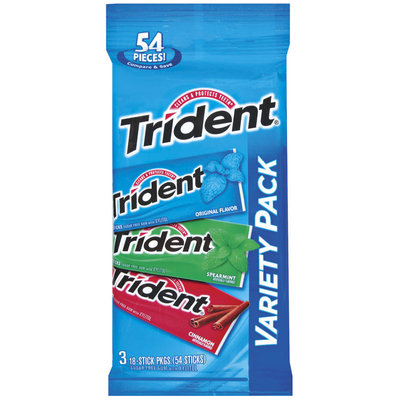 Trident Variety Pack Original Flavor/Spearmint/Cinnamon 18 Sticks Sugar Free Gum 3 Pk Peg