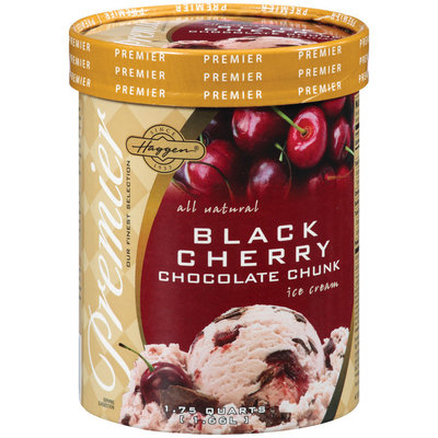 Haggen Black Cherry Chocolate Chunk Ice Cream 1.75 Qt Carton