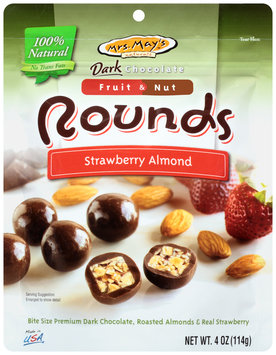 Mrs. May's Naturals™ Dark Chocolate Fruit & Nut Strawberry Almond Rounds 4 oz. Bag