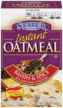 Stater Bros.® Raisin & Spice Instant Oatmeal 10 ct. Packets