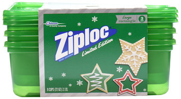 Ziploc® One Press Seal Holiday Green Large Rectangle Containers 3 ct Sleeve