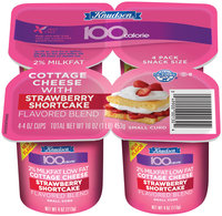 Knudsen 100 Calorie Strawberry Shortcake Small Curd 2% Milkfat Lowfat 4 Oz  Cottage Cheese 4 Ct Cups