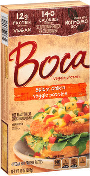 Boca Spicy Chik'n Veggie Patties Made with Non-GMO Soy 4 ct Box