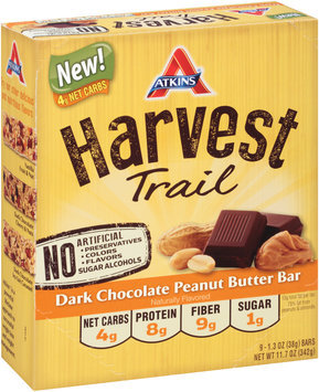Atkins® Harvest Trail Dark Chocolate Peanut Butter Bar Bar 9-1.3 oz. Pack