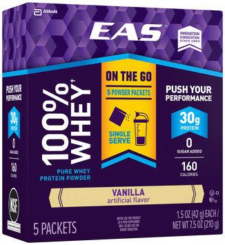 EAS® 100% Whey† Vanilla Pure Whey Protein Powder 5-1.5 oz. Box
