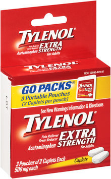 Tylenol® Caplets Extra Strength 500mg Caplets 3-2 ct Pouches