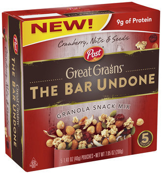 Post® Great Grains® Bar Undone Cranberry, Nuts & Seeds Granola Snack Mix 5 ct Box