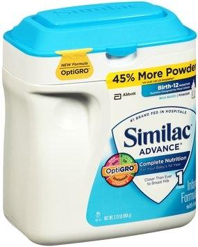 Similac Advance® Complete Nutrition Milk Based Powder Infant Formula 2.13 lb. Tub