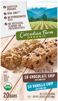 Cascadian Farm® Organic Chocolate Chip/Vanilla Chip Chewy Granola Bar Variety Pack 20 ct Box