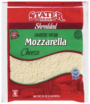 Stater Bros. Mozzarella Low Moisture Part Skim Shredded Cheese 32 Oz Bag