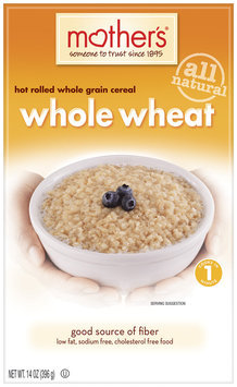 Mother's 100% Natural Whole Grain Hot Rolled Wheat Cereal 14 Oz Box