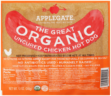 Applegate® The Great Organic Uncured Chicken Hot Dog 12 oz. Pack