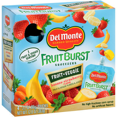 Del Monte® Fruit Burst Squeezers Banana-Strawberry Flavor Fruit & Veggie Purees & Juices