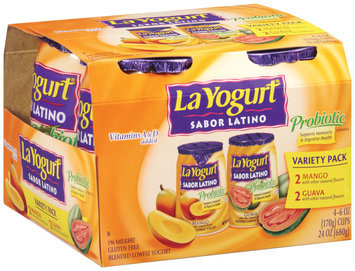 La Yogurt® Sabor Latino Probiotic Lowfat Mango & Guava Yogurt 24 oz. 4 pk. Sleeve