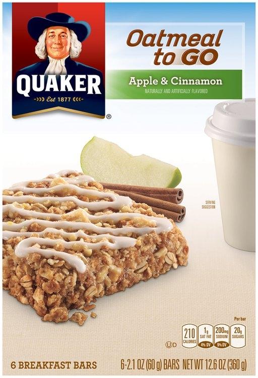 Quaker® Oatmeal to Go Apple & Cinnamon Breakfast Bars 6 ct ...