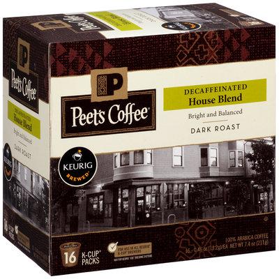 Peet's Coffee® Decaffeinated House Blend Dark Roast Coffee 16-0.46 oz. Single Serve Cups