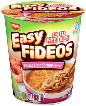 Nissin® Cup Noodles® Easy Fideos Picante Lime Shrimp Flavor Ramen Noodle Soup 2.40 oz. Cup