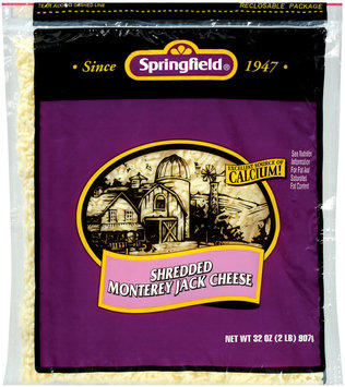 Springfield Shredded Monterey Jack Cheese 32 Oz Bag