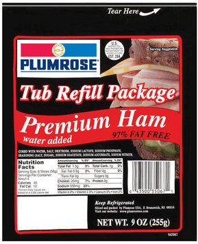 Plumrose Premium Package 97% Fat Free Tub Ham Refill 9 Oz Peg
