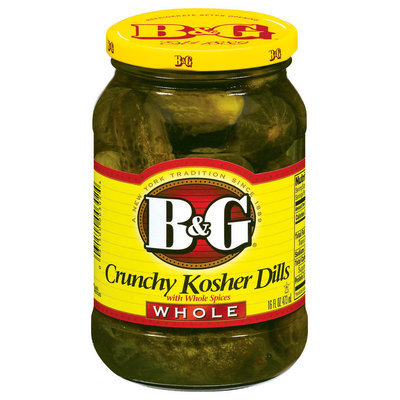 B&G Crunchy Kosher Dills Whole Pickles 16 Oz Jar