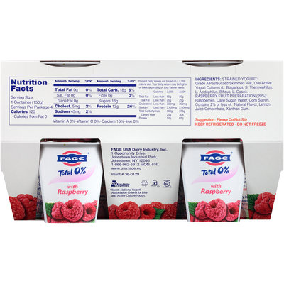 Fage® Total 0% Nonfat Greek Strained Yogurt with Raspberry 4-5.3 oz. Cups