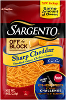 Sargento® Off the Block Sharp Cheddar Fine Cut Shredded Cheese 8 oz. Bag