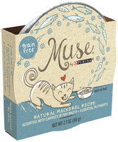 Muse by Purina Natural Mackerel Recipe with Carrots in Fish Broth Cat Food 2.1 oz. Tub