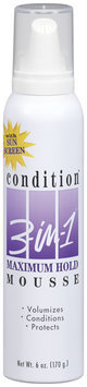 3 In 1 Condition Maximum Hold W/Sun Screen Mousse 6 Oz Spout-Top Can