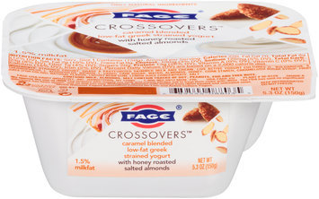 Fage® Crossovers™ Caramel Blended Low-Fat Greek Strained Yogurt with Honey Roasted Salted Almonds 5.3 oz. Cup