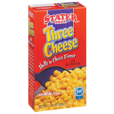 Stater Bros. Three Cheese W/Mini Pasta Shells & Cheese Dinner 7.25 Oz Box