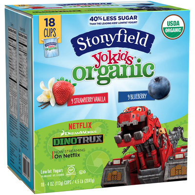 Stonyfield Yokids® Strawberry Vanilla & Blueberry Organic Squeezers® Lowfat Yogurt 18-4 oz. Cups