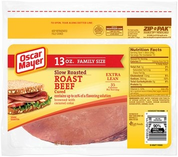 Oscar Mayer Slow-Roasted Cured Roast Beef Cold Cuts 13 oz. ZIP-PAK®