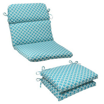 Pillow Perfect Outdoor Rounded Chair Cushion - Teal/White Geometric