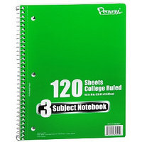 Penway 3 Subject Spiral Notebook College Ruled