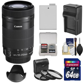 Canon EF-S 55-250mm f/4.0-5.6 IS STM Zoom Lens with 64GB Card + LP-E8 Battery + Charger + 3 UV/CPL/ND8 Filters + Tripod + Kit for Rebel T3i, T4i & T5i Cameras