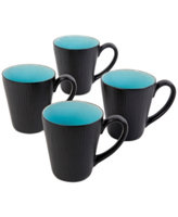 Gibson Shangri-La Court Turquoise Set of 4 Mugs