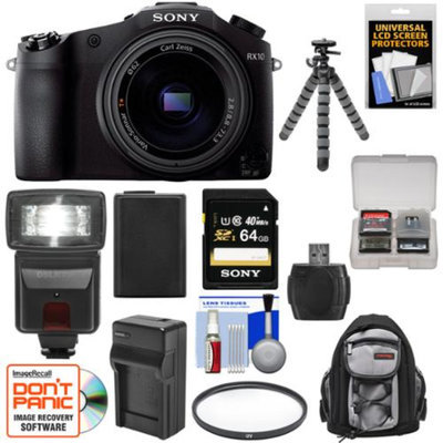 Sony Cyber-Shot DSC-RX10 Digital Camera with 24-200mm f/2.8 Zoom Lens with 64GB Card + Battery/Charger + Backpack + Flash + Flex Tripod + Kit