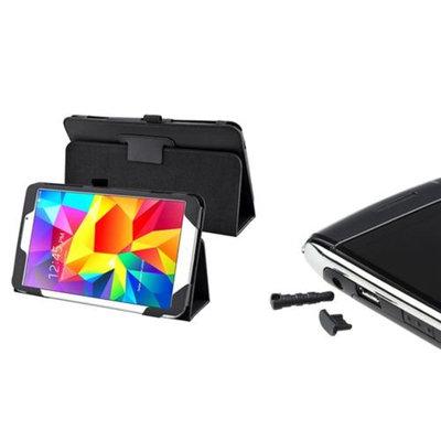 Insten INSTEN Black Leather Stand Case+USB Dust Cap For Samsung Galaxy Tab 4 8.0 8
